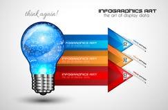 Idébegreppsorientering för idékläckning- och Infographic bakgrund Arkivfoto