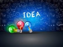 Idébegreppsorientering för idékläckning- och Infographic bakgrund Arkivbild