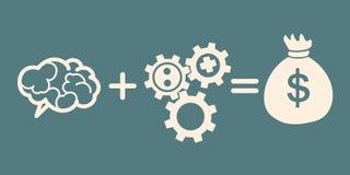 idébilden för begreppet 3d framförde brain+gears=bag av pengar Arkivfoto