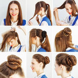 Idée étape-par-étape de coiffure pour le blog photographie stock libre de droits