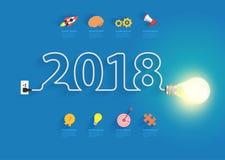 Idée créative d'ampoule avec 2018 nouvelles années Photos stock