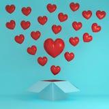 Idée créative de coeur rouge exceptionnel en dehors de la boîte sur le bleu au delà illustration libre de droits
