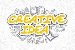 Idée créative - texte jaune de griffonnage Concept d'affaires Images libres de droits