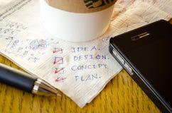 Idée d'ébauche sur le tissu de café Photos libres de droits