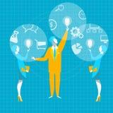 Idée d'affaires Fusionnez la poignée de main de chef d'affaires d'ampoule de vitesse d'idée de collaboration Image stock