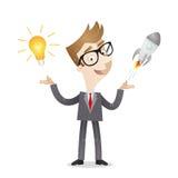 Idée d'ampoule de démarrage d'entreprise d'homme d'affaires illustration libre de droits