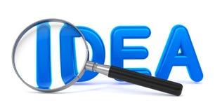 Idée - 3D bleu Word par une loupe. Photos stock