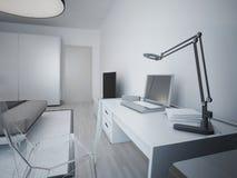 Idée d'emplacement de travail dans la chambre à coucher moderne Photographie stock