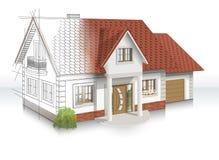 idée 3d et exécution de maison illustration stock