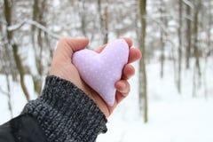 Idée d'hiver d'amour Remettez tenir un coeur sur le fond de la forêt Images stock