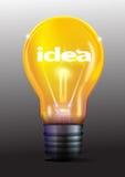 Idée dans l'ampoule jaune Photos stock