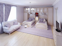 Idée de chambre à coucher néoclassique Photo libre de droits