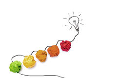Idée de concept avec le papier et le graphique colorés de l'isola d'ampoule photo stock