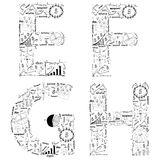 Idée de concept de plan de stratégie commerciale de retrait des lettres d'alphabet Images libres de droits