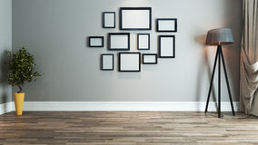 Idée de conception intérieure de salon avec le cadre de photo Images libres de droits
