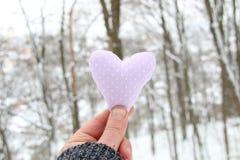 Idée de jour du ` s d'hiver, d'amour ou de Valentine Remettez tenir un coeur sur le fond de la forêt d'hiver Photographie stock