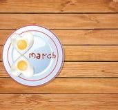 Idée de nourriture d'amour pour le petit déjeuner du 8 mars Image libre de droits