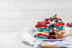 Idée de petit déjeuner de Jour de la Déclaration d'Indépendance avec des crêpes Image stock