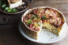 Idée de recette de photographie de nourriture de quiche de champignon photographie stock