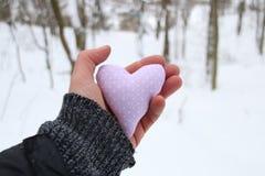 Idée de vacances d'hiver d'amour Remettez tenir un coeur sur le fond de la forêt Photo stock