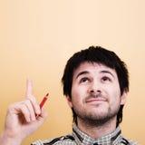 Idée. Homme se dirigeant vers le haut. Copyspace Photographie stock libre de droits