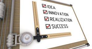Idée, innovation, réalisation, succès Liste avec les coches sur la planche à dessin illustration stock