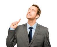 Idée lumineuse d'homme d'affaires pensant le fond créativement blanc Image libre de droits