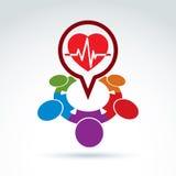 Idée médicale de cardiologie, battement de coeur de cardiogramme Images libres de droits