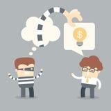 Idée parlante d'homme d'affaires au voleur illustration stock