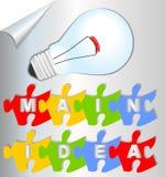 Idée principale de glissière de présentation avec les éléments et l'ampoule de puzzle Image stock
