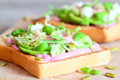 Idée végétarienne de recette de sandwich à avocat Les sandwichs faits maison ont fait cuire avec l'avocat coupé en tranches, les  Photographie stock libre de droits