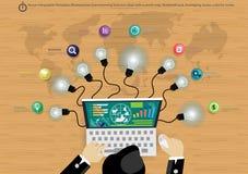 Idéer för affär för idékläckning för affärsman för vektorInfographic mallar med lampor, färgrika cirklar stock illustrationer