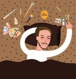 Idéer för fyndet för sömn för konstnärmålarfärgnedgången som målar inspiration, evakuerade den tänkande borstepaletten för konst stock illustrationer