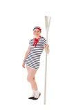Idéer för möhippa: flicka med en oar Royaltyfri Foto
