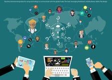 Idéer för vektoraffärsmanidékläckning för att använda teknologi för att meddela världsomspännande handel med minnestavlalägenhetd stock illustrationer