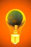 Idéer hand, ljus kula, värld Arkivbilder
