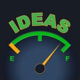 Idéer mäter indikerar skärmbegrepp och uppfinningar stock illustrationer