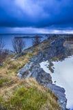 Idéer och sceniska destinationer Färgrika Lofoten öar Arkivbild