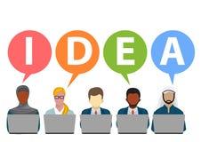 Idées d'équipe d'affaires avec l'illustrateur d'idées des textes Images libres de droits