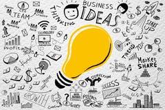 Idées d'affaires Griffonnages d'affaires d'ampoule de dessin de dessin à main levée réglés, images libres de droits