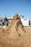 Idées de sculpture en sable d'Albert Einstein Photographie stock libre de droits