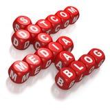 Idées sociales de mots croisé de medias sur les matrices rouges illustration de vecteur