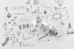 Idées tirées par la main d'icône d'affaires et ampoule Photographie stock libre de droits