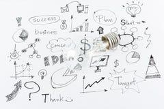 Idées tirées par la main d'icône d'affaires et ampoule Photo libre de droits
