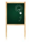 Idéia do bulbo em Greenboard com frame de madeira Foto de Stock Royalty Free