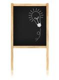 Idéia do bulbo no quadro-negro com frame de madeira Imagem de Stock