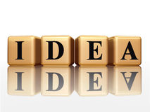 Idéia dourada com reflexão Imagem de Stock Royalty Free