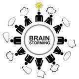 Idékläckningbegreppet med teamwork som diskuterar och, får en idé Arkivbilder