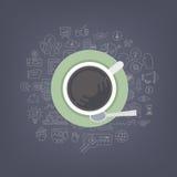 Idékläckningidéer med kaffe stock illustrationer