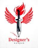 Idén är ett vapenbegrepp, vapen av en formgivare eller en konstnärallegori som visas som det bevingade svärdet med blyertspennan  stock illustrationer